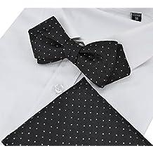 Heymei Men's Self Pre-tie Bowtie with Pocket Square Bow Tie Hanky Set THS04 (Black)