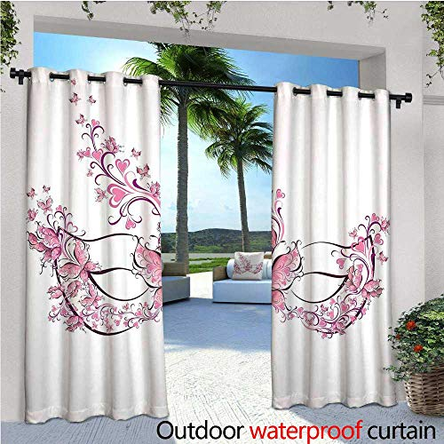 (Masquerade Outdoor Privacy Curtain for Pergola Masks Carnival Dress Centuries Old Tradition of Venice Theme Design Print Thermal Insulated Water Repellent Drape for Balcony W96