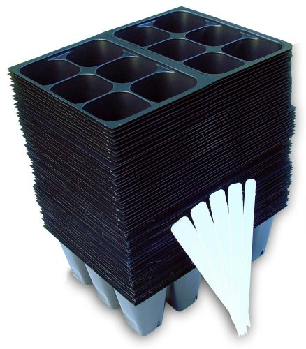 (Seedling Starter Trays, 720 Cells: (120 Trays; 6-cells Per Tray), Plus 5 Plant Labels)