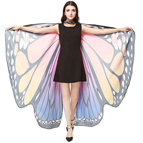 (ALOVEMO Plain T Shirts for Women Women Butterfly Wings Shawl Scarves Ladies Nymph Pixie Poncho Costume Accessory Hot Pink)