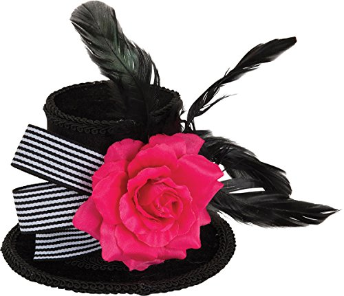 Black And White Mini Rose Top Hat (Women Halloween Fancy Party Harlequin Rose Mini Top Hat With Black Feathers)