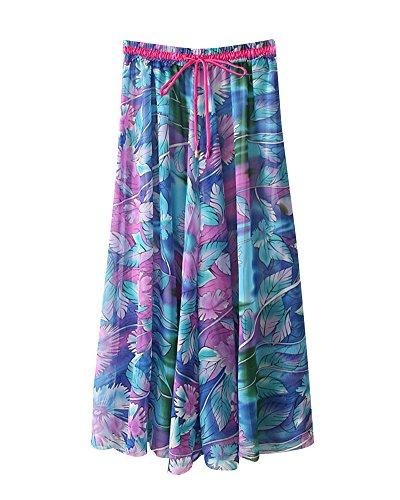 Femme Mousseline Imprim Floral Jupes Boho Flexible Taille lastique t Plage Vacances Jupe Plisse Casual Grande Taille Jupe vase Bleu