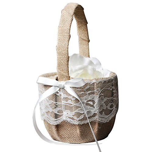 TOOGOO(R) Vintage Retro Lace Bow Wedding Flower Girl Basket