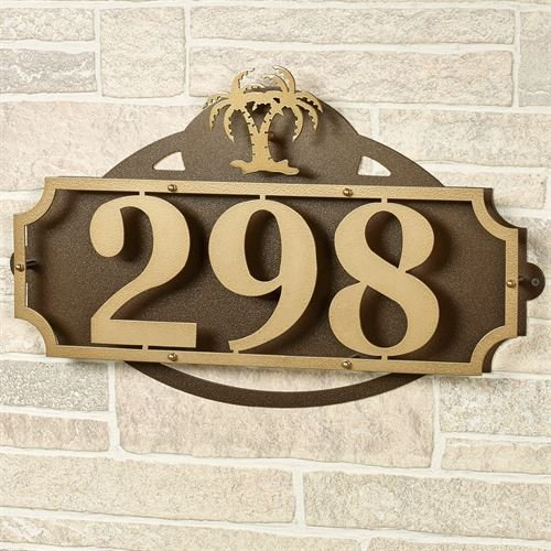 Palm Plaque - La Casa Palm Tree House Number Wall Plaque Gold/Bronze Wall