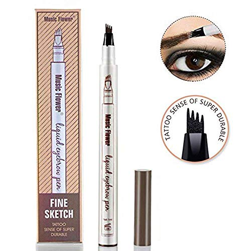 Music Flower Eyebrow Tattoo Pen Microblading Eyebrow Pencil Tattoo Brow Ink Pen with a Micro-Fork Tip Applicator Creates Natural Looking Brows Effortlessly and Stays on All Day (Chestnut) ()