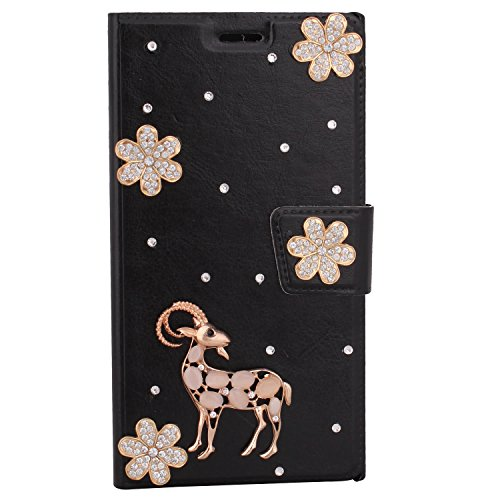 DStores for Att Zte Phone Case, Black Handmade Bling Diamond PU Flip Leather Full Coverage Case T-Mobile Zte Max Wallet Case for ZTE ZMax Z970-Cute Deer