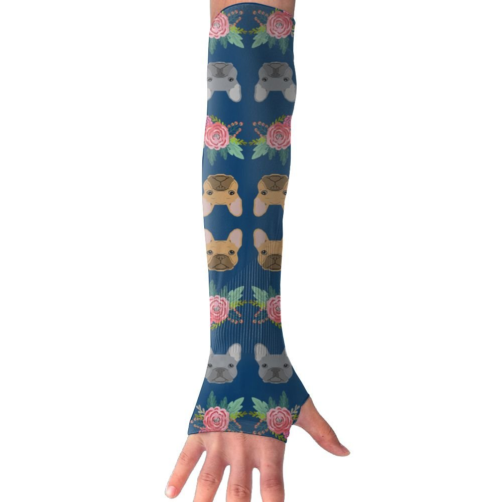 French Bulldog Flowers Florals Women Outdoor Sun Block Soft Long Arm Sleeve Fingerless Gloves