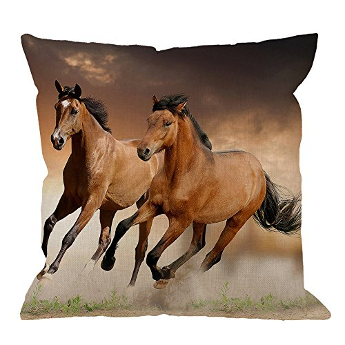 HGOD Designs Throw Pillow Case Horse,Running Horses Cotton Linen Square Cushion Cover Standard Pillowcase for Men Women Kids Home Decorative Sofa Armchair Bedroom Livingroom 18 x 18 inch ()