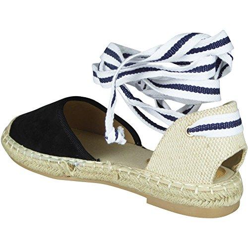 3 Chaussures Plates Des Des Sandales Noir Ficeler En Dames Daim Femmes Espadrilles formes Taille Plates 8 Pompes qw6vvBt