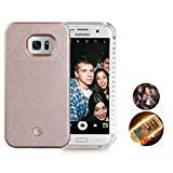 Galaxy s6 edge case,LED Light Selfie Phone Case For Samsung S6 Edge Hard Back Phone Cover Light Up Covers,Led Illuminated case Great for a bright Selfie and Facetime(Rose Gold)