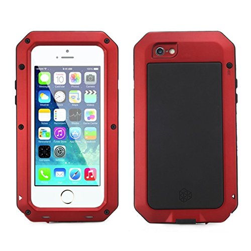 iPhone 6/6S Case,Mangix Gorilla Glass Luxury Aluminum Alloy Protective Metal Extreme Shockproof Military Bumper Finger Scanner Cover Shell Case Skin Protector for Apple iPhone 6/6S 4.7inch (Red) (Gorilla Case Aluminum Glass Metal)