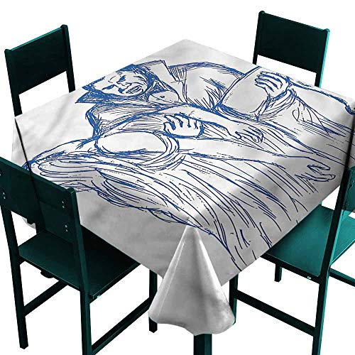 DONEECKL Polyester Tablecloth Vampire Dracula with His Prey Picnic W36 xL36 ()