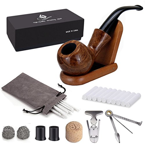 Price comparison product image joyoldelf Rosewood Tobacco Pipe Set with Wooden Stand,  Reamer & 3-in-1 Pipe Scraper,  20 Pipe Cleaners & Pipe Filters,  2 Pipe Bits & Metal Balls,  Cork Knocker,  Pipe Pouch,  Bonus a Gift Box