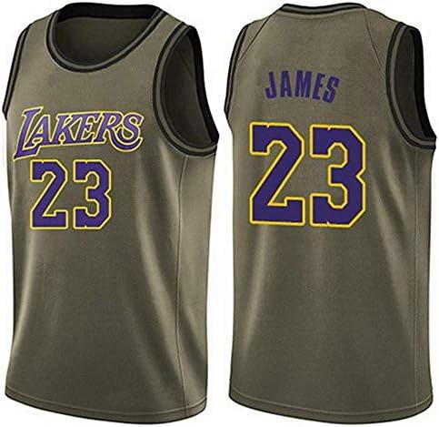 YSAメンズジャージ-ロサンゼルスレイカーズ23#ジェームスジャージ 刺繍入りバスケットボールスウィングマンジャージ