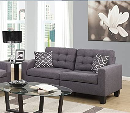 Amazon.com: Home Source U-13379-S Grey 2 Seat Sofa: Kitchen ...