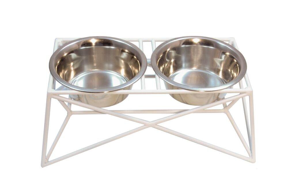 Martin|Deutschman Wire Dog Bowl Feeders, White
