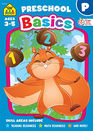 School Zone - Preschool Basics Workbook - 32 Pages, Ages 3 to 5, Preschool to Kindergarten, School Readiness, Opposites, Beginning Sounds, Counting, and More (School Zone Basics Workbook Series)