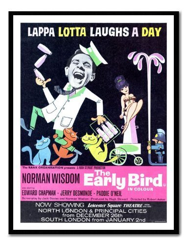 Iposters Norman Wisdom The Early Bird Movie Print Magnetic Memo Board Black Framed - 41 X 31 Cms (approx 16 X 12 Inches)