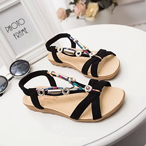 Vertvie Damen Strandschuhe Mode Sweet Clip Sommer Schuhe Peep Toe Flach Schnalle Schuhe Böhmischen Sandalen Schwarz