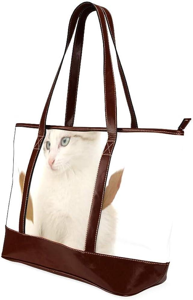 Tote Bags Kitten Falling Foliage On White Travel Totes Bag Fashion Handbags Shopping Zippered Tote For Women Waterproof Handbag