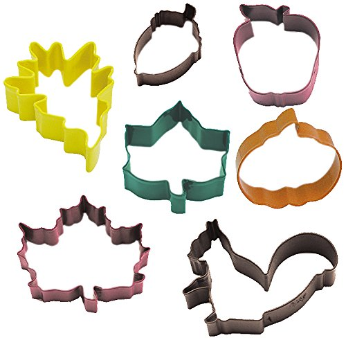 R & M International Set of 7 Fall Leaf Cookie Cutter Set with Three Leaves, Acorn, Pumpkin, Apple and Squirel - Cutters Range from 2.75