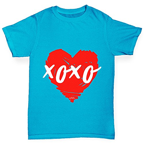 Twisted Envy Boy's XOXO Heart Cotton T-Shirt, Comfortable and Soft Classic Tee with Unique Design Age 12-14 Azure - Stupid Sunglasses