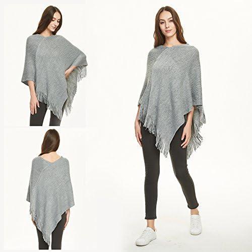 Warm coarse Knit Sleeveless 08010074 Round Neck Knit Poncho Unicoloured styleBREAKER Women Knit Poncho with Wave Pattern