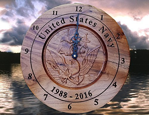 Personalized Navy Wall clock, Navy Veterans retirement Gift, Promotion Gift, 3D Carved Wooden Wall Clock