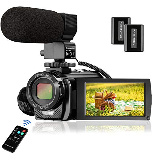 Video Camera Camcorder FHD 1080P 30FPS 24MP YouTube Camera with Microphone 3.0 Inch 270 Degree Rotation 16X Zoom Remote Control Vlogging Digital Video Camera with 2 Batteries (Best Youtube Camera Under 200)
