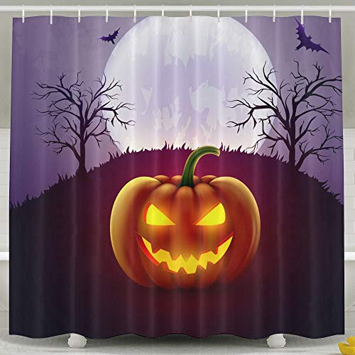Silinana Halloween Pumpkin Background 6072 Inch Bathroom Shower
