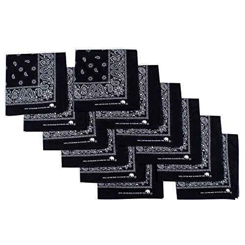 Elephant Brand Bandanas 100% Cotton - 12 Pack - Black Bandanas