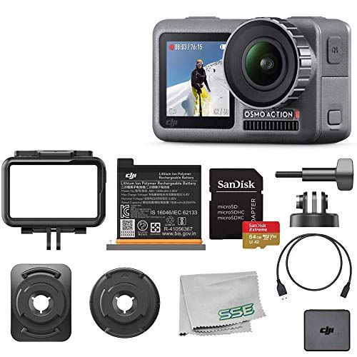 DJI 2019 Osmo Action with Dual Touch Display 4K HDR Waterproof Camera with Sandisk 64GB Memory Card Essential Bundle - CP.OS.00000020.01 (Best Slow Motion Cameras Of 2019)