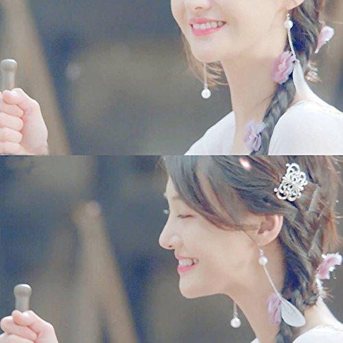 Zheng Shuang Zhu Xian costume earrings S925 silver chiffon asymmetric resin wings pearl earrings ear clip (Resin Wings Pearl)