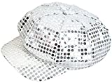 Funky Retro Silver Costume Sequin Newsboy Baseball Hat