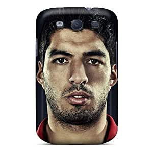 Awesome The Football Player Of Liverpool Luis Suarez On The Black Background Flip Case With Fashion Design For Galaxy S3