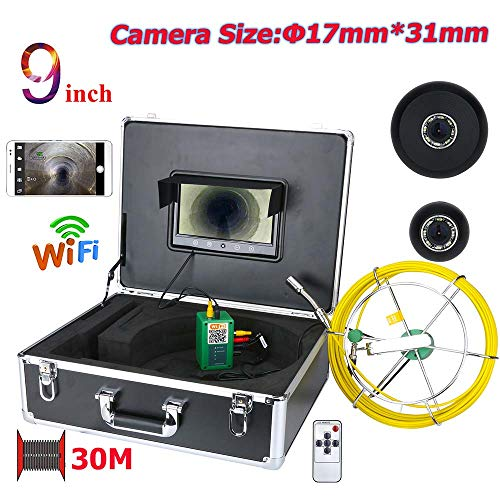 (TIANXIANSHENG 9 inch 17mm Industrial Pipeline Sewer Inspection Camera IP68 Waterproof Drainage Detection 1000 TVL Camera with DVR Recording Function (30M) )