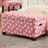 Kinfine Upholstered Deluxe Kids Storage Bench – Polka Dot