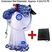 EASY BIG American Fishing Nets Cast Net with Aluminum...