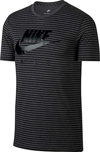 NIKE Men's Sportswear Stripe Graphic T-Shirt - Charcoal Heathr/Black, L