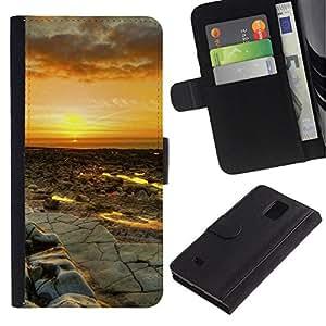 NEECELL GIFT forCITY // Billetera de cuero Caso Cubierta de protección Carcasa / Leather Wallet Case for Samsung Galaxy Note 4 IV // Puesta del sol del desierto Paisaje