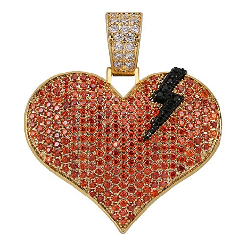 TOPGRILLZ Iced Out Lab Premium Simulated Diamond Bling Bubble Broken Heart Pendant Necklace Chain for Men Women Fashion Jewelry Gifts (Lightening Heart) ()