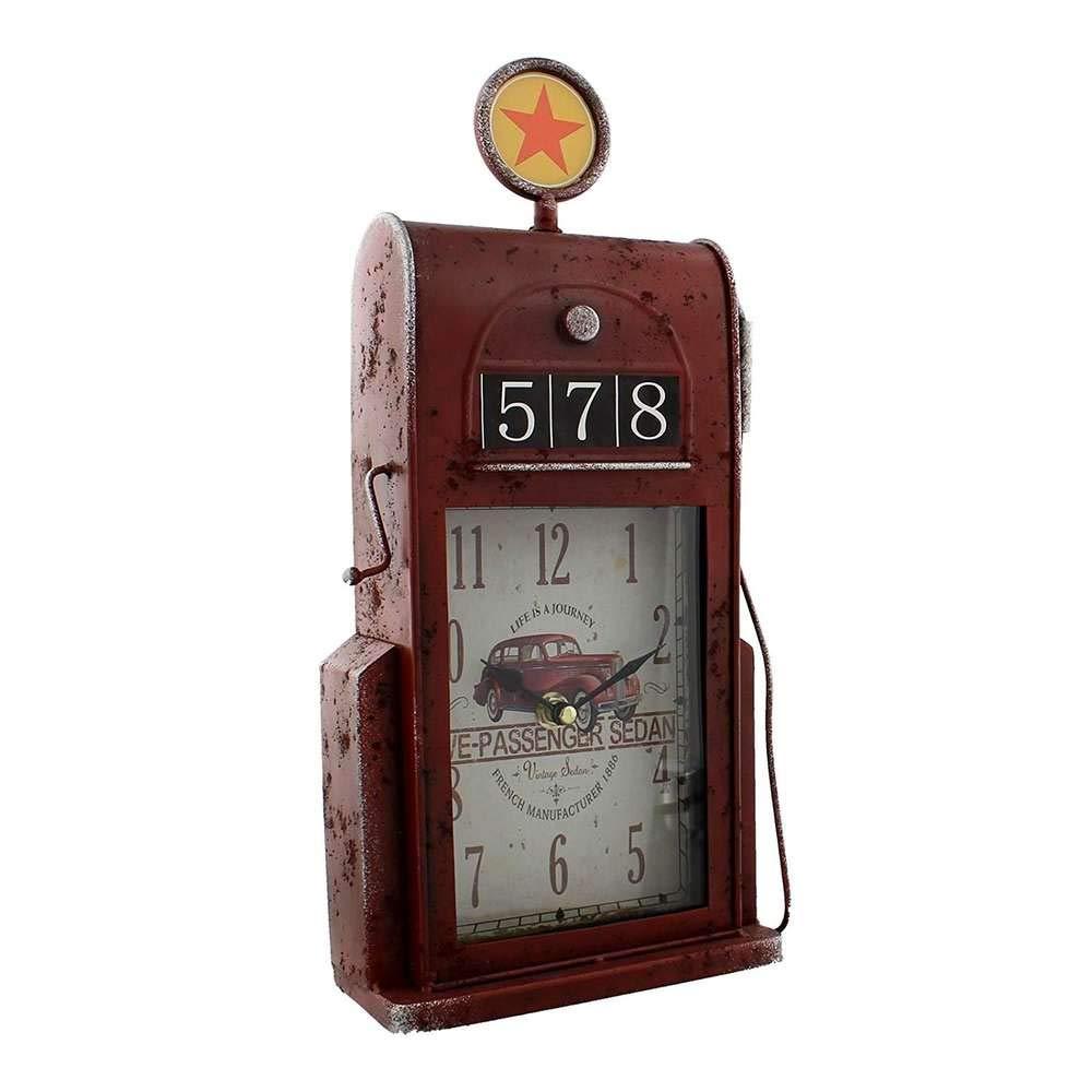 Retro Style Petrol Gas Pump Hometime Metal Mantel Clock
