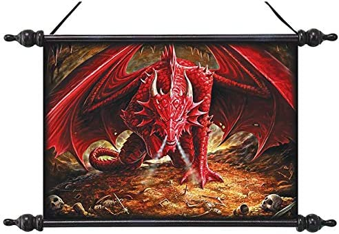 Design Toscano CL75384 Dragons Lair Canvas Wall Scroll, full color