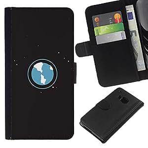 Planetar® Modelo colorido cuero carpeta tirón caso cubierta piel Holster Funda protección Para HTC One M7 ( Space Planet Galaxy Stars 53 )