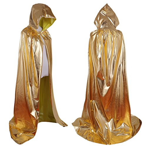 Colorful House Unisex Full Length Hooded Cape Costume Cloak (Gold, 59