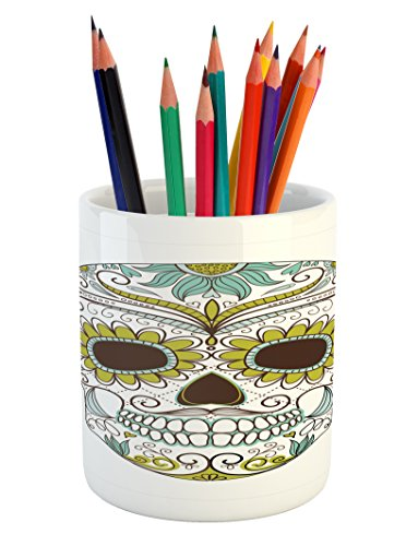 Sugar Skull Pencil Pen Holder by Ambesonne, Folkloric Calave