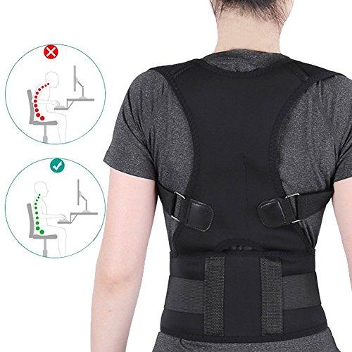 Postura Brace Corrector Ajustable soporte de espalda hombro lumbar Straighten Back(Negro XXL)