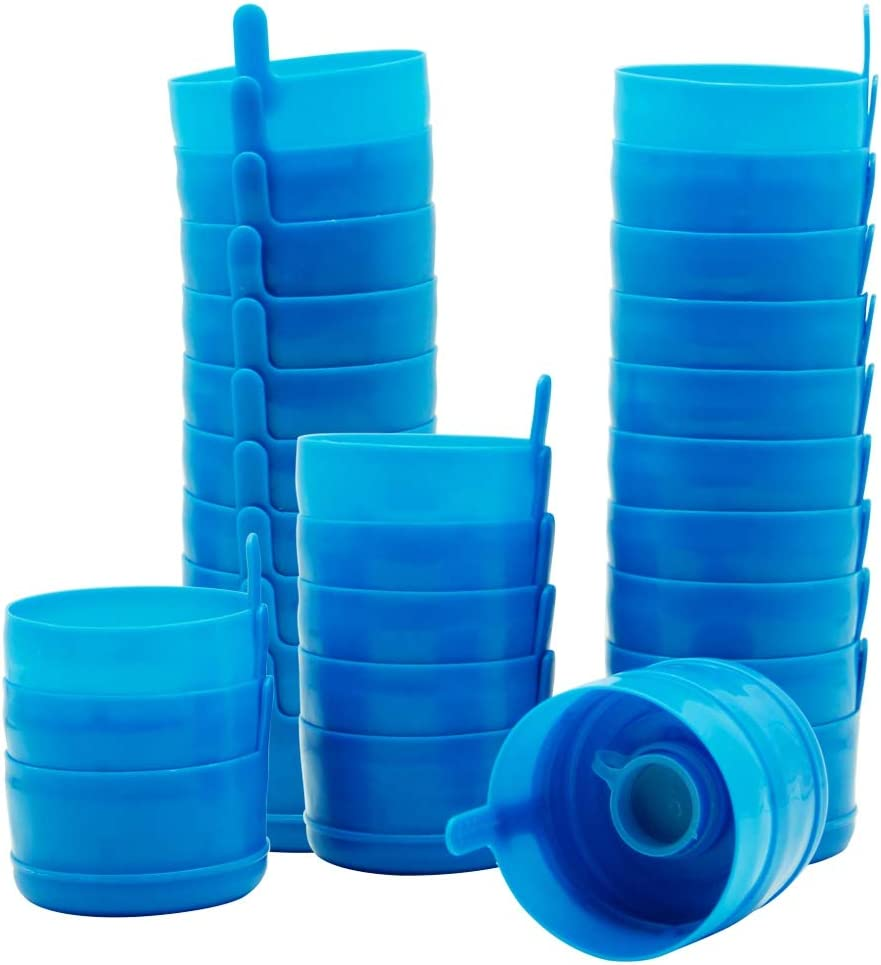 Happy Trees 3 and 5 Gallon Reusable Lids for Water Dispenser Jugs 55 mm Anti-Splash Caps for Water Containers Non-Spill Water Jug Replacement Caps 30 Pcs
