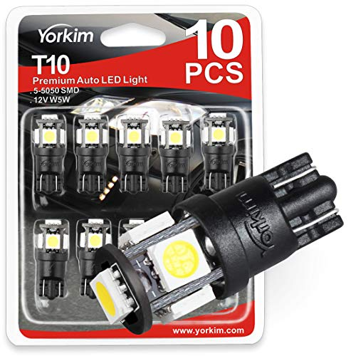 Yorkim T10 194 LED Bulbs 6500K Non Polarity 6th Generation for Car Interior Lights, LED Plate Light, Turn Signal Lights and Corner Lights – W5W 168 2825 T10 194 Wedge LED Bulb, Pack of 10 - White