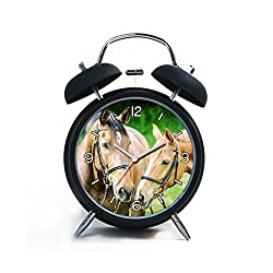 Twin Bell Analog Alarm Clock-Loud Alarm Clock(black)Custom pattern-162.Free photo Animals Horses Close-up Animal Photography Bridle